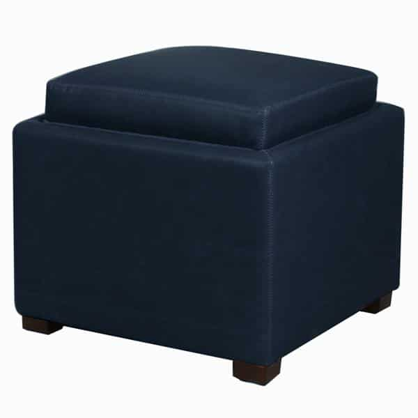Cameron Square Bonded Leather Storage Ottoman with Tray Vintage Blue