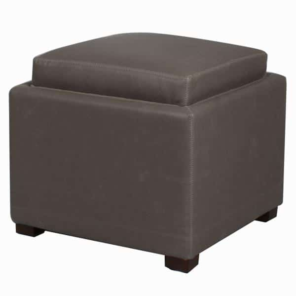 Miraculous Cameron Square Bonded Leather Storage Ottoman With Tray Vintage Gray Theyellowbook Wood Chair Design Ideas Theyellowbookinfo