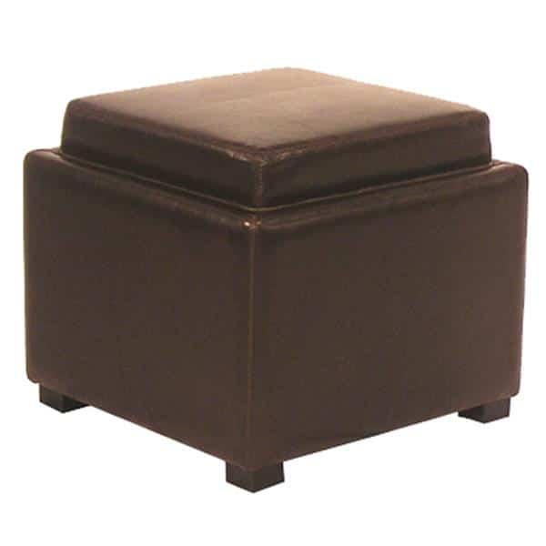 Cameron Square Leather Storage Ottoman with Tray Brown