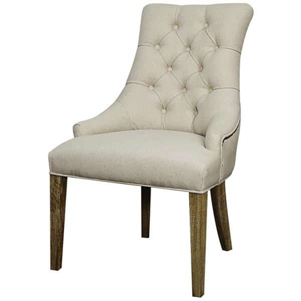 Celestia Fabric Tufted Chair Drift Wood Legs Light Sand Set of Two