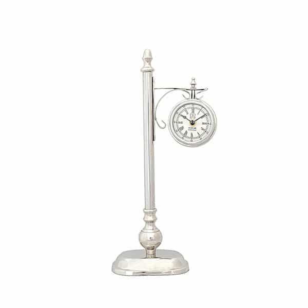 Brass and Aluminum Lamp Post Clock One Sided