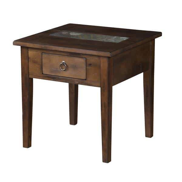 Santa Fe End Table with Utility Drawer - Dark Chocolate