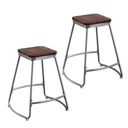 Roldon Backless Counter Stools – 2PC Set - Silver