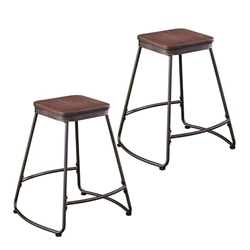 Roldon Backless Counter Stools – 2PC Set - Gray