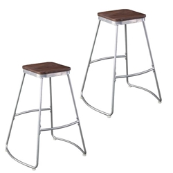 Roldon Backless Barstools – 2PC Set - Silver