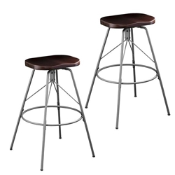 Rampone Backless Swivel Barstools – 2PC Set - Silver