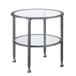 Jaymes Metal & Glass Round End Table - Silver