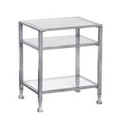 Metal & Glass End Table - Silver