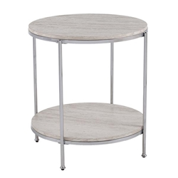 Silas Round Faux Stone End Table - Chrome With Faux Travertine