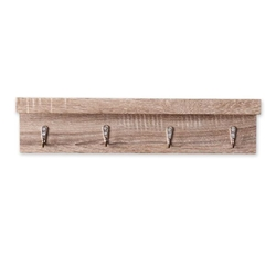 Argo Wall Mount Shelf With Hooks - Grayed Oak