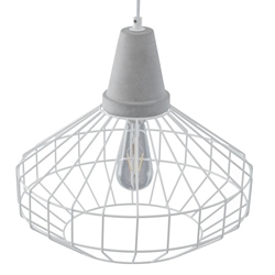 Brinland Cage Pendant Lamp - White & Cement Gray