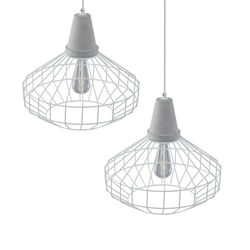 Brinland Cage Pendant Lamp Collection – 2PC Set - White & Cement Gray
