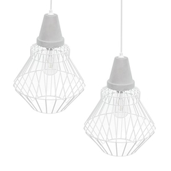 Brodiman Cage Pendant Lamp Collection – 2PC Set - White