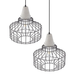 Brantville Black Cage Pendant Lamps – 2PC Set