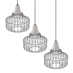 Brantville Black Cage Pendant Lamps – 3PC Set