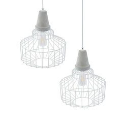 Brantville White Cage Pendant Lamps – 2PC Set