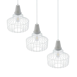 Brantville White Cage Pendant Lamps – 3PC Set