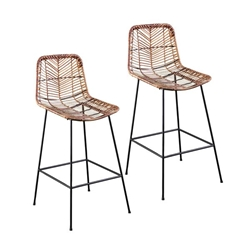 Ragalto All-Weather Rattan Counter-Height Outdoor Stools – 2PC Set
