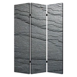 Black Slate Three-Panel Screen
