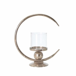 "Aluminum 17"" Ring Candle Holder With Glass - Silver"