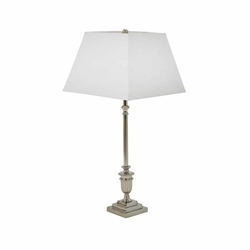 "Aluminum 19"" Square Base Table Lamp - Silver"