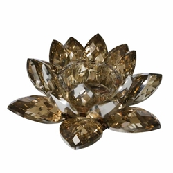 Amber Crystal Lotus Votive Holder 8.25""
