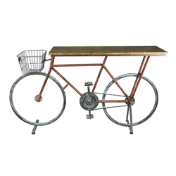 Bicycle Console Table - Red & Blue