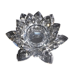 Black Crystal Lotus Votive Holder 6""