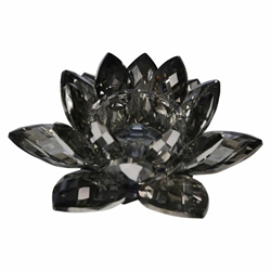 Black Crystal Lotus Votive Holder 8.25""