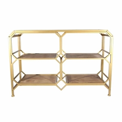 Bronze& Wood 3-Tier Console Table