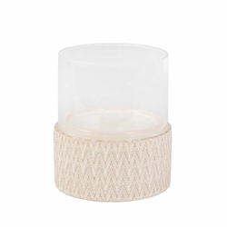 "Ceramic & Glass 10"" Pillar Holder - Chevron"