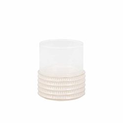 "Ceramic & Glass 8"" Pillar Holder - Stripe"