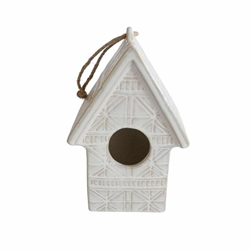 "Ceramic 10"" Abstract Decorative Bird House- Ivory"
