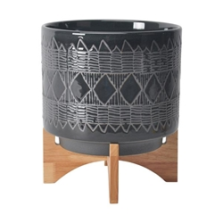 "Ceramic 10"" Aztec Planter On Wooden Stand - Black"