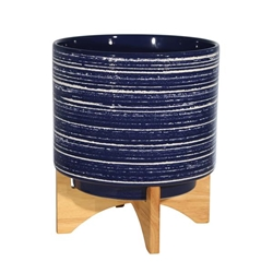 "Ceramic 10"" Planter On Stand - Blue"