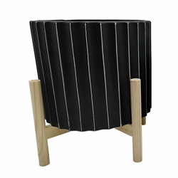 "12"" Ceramic Fluted Planter With Wood Stand - Black"
