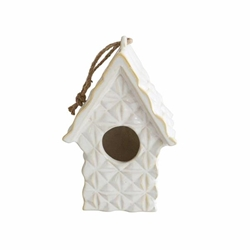 "Ceramic 10"" Textured Decorative Bird House- Ivory"