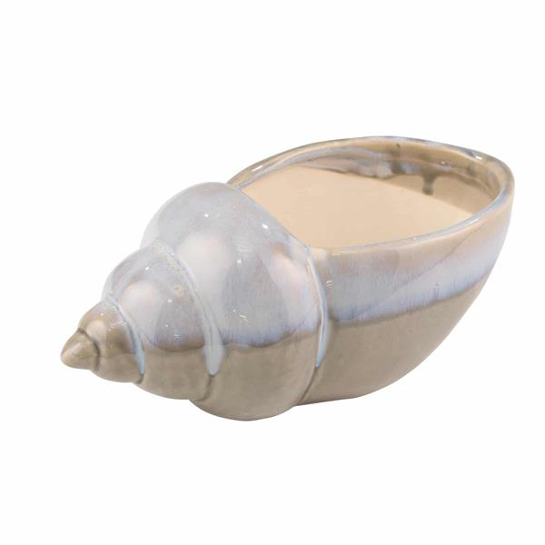 "Ceramic 10.75"" Seashell Planter- Blue & Gray Reactive"