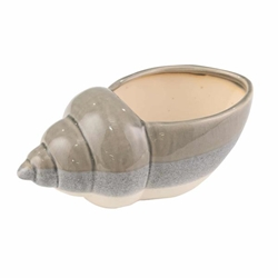 "Ceramic 10.75"" Seashell Planter- Gray & White"