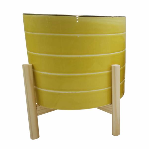 "12"" Ceramic Striped Planter With Wood Stand - Yellow"