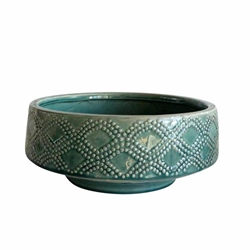 "Ceramic 11"" Dotted Bowl Planter- Green"