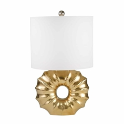 "Ceramic 25"" Ridged Ring Table Lamp - Gold"