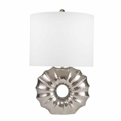 "Ceramic 25"" Ridged Ring Table Lamp - Silver"