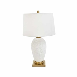 "Ceramic 27"" Table Lamp  With Hammered Finish- White"