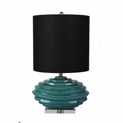 "Ceramic 27"" Table Lamp With Crystal Base - Green"