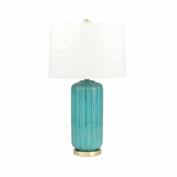 Ceramic 29 Fluted Column Table Lamp - Teal