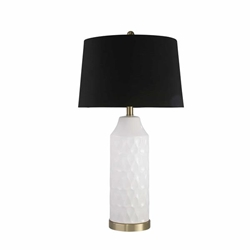 "Ceramic 29"" Cylinder Table Lamp - White"