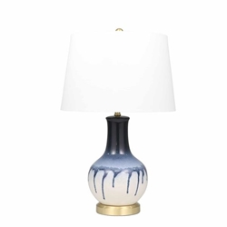 "Ceramic 29"" Drip Glaze Table Lamp - Blue & White"