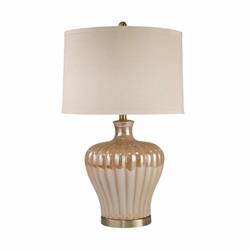 "Ceramic 29"" Fluted Table Lamp -Gold"