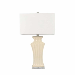 "Ceramic 29"" Fluted Urn Table Lamp - Cream"